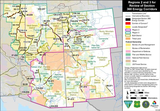 Regions 2 and 3 for Review of Section 368 Energy Corridors
